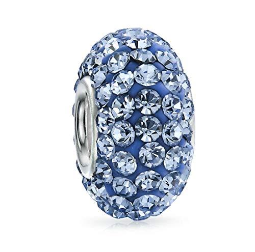 925 Sterling Silver December Birthstone Charm Bead Swarovski Crystal Elements fit All Charm Bracelets Women Girls Gifts EC684-12