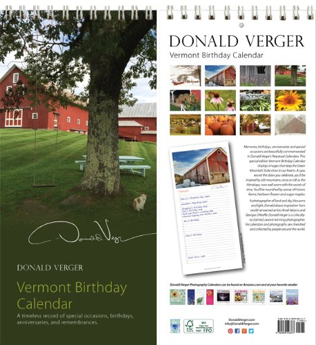 Donald Verger All Vermont Cat Cover Birthday and Anniversary Perpetual Wall Desk Fine Art Books and Calendars - Unique and Great Nature Gifts for Valentines Day, Mothers Day, Fathers Day, Stocking Stuffers, Best Christmas, Xmas & Holidays for Him, Her, Women, Men, Husband, Wife, Mom, Dad - Updated 2014
