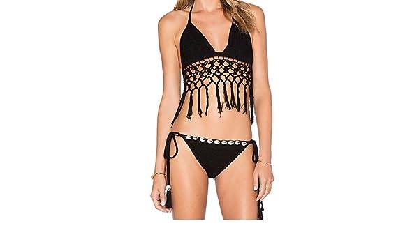 borla crochet traje de baño bikini para mujer tejiendo a mano la ...