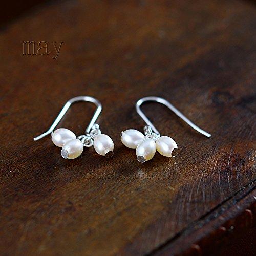 Natural freshwater pearl original 925 sterling silver lovely delicate sweet women girls models super beautiful Christmas earrings send his girlfriend