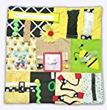 """Fidget Quilt Handmade in the U.S.A. Memory Loss & Alzheimer's Blanket Dementia Toy with Bumble Bee Design. Size 21"""" x 21"""""""