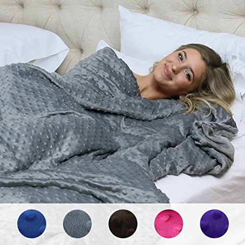 "Price comparison product image Huggaroo Premium Adult Weighted Blanket Set (Weighted Quilt + Luxurious Cover): Sleep Better, Reduce Anxiety and Stress, Soothe and Unwind, Indulge. (15 lb, 58"" x 80"", Dark Grey)"