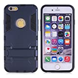 Cuitan 2 in 1 Dual Layer Hybrid Case for iPhone 5S / 5 / 5G, TPU Soft Bumper and PC Hard Back Cover Built-in Kickstand Design Armor Rugged Defender Protective Shell Cover Protection Sleeve with Stylus (Random Color) for Apple iPhone 5S / 5 / 5G - Black Blue