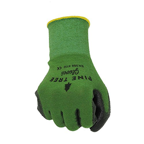 Pine Tree Tools Bamboo Working Gloves for Women and Men-Ultimate Barehand Sensitivity Work Glove for Gardening, Fishing, Clamming, Restoration Work-black/green,L,(1 Pack)