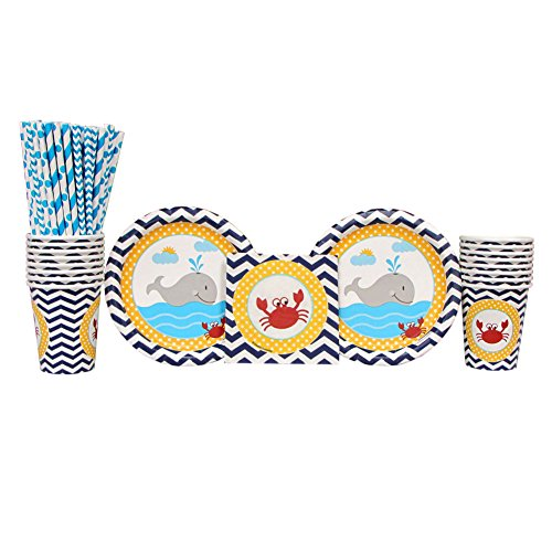 Ahoy Matey Party SuppliesPack for 16 Guests: Straws, Dessert Plates, Cups, and Beverage Napkins, Nautical Party -