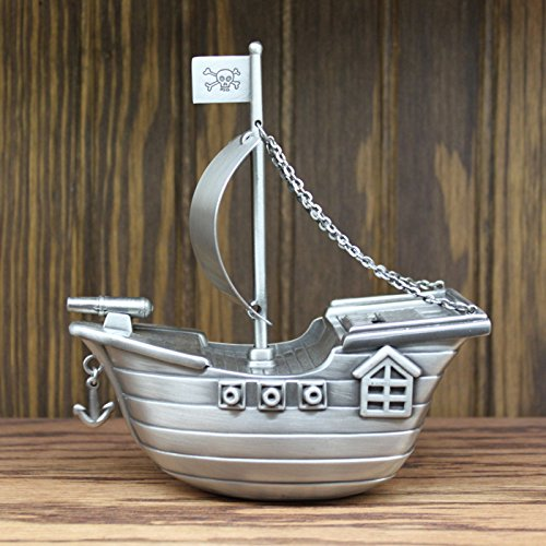 Personalized Pewter Finish Pirate Ship Piggy Bank by Center Gifts (Image #2)