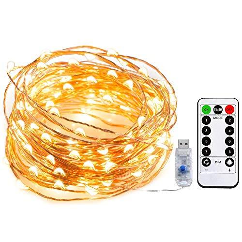 Tira led, Gloriz Guirnaldas con Luces Decorativas 10m con Control por USB / Remoto Infrarrojo 100 Luces LED Impermeable para...