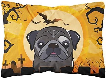 Caroline's Treasures BB1821PW1216 Halloween Black Pug Fabric Decorative Pillow