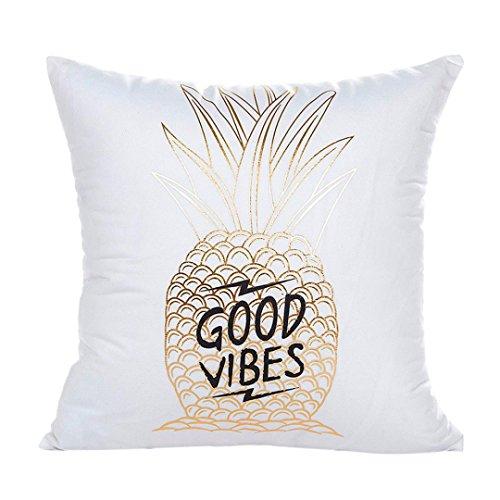 Kimloog Gold Foil Print Square Cushion Case Car Home Sofa Decorative Waist Throw Pillow Cover (H)