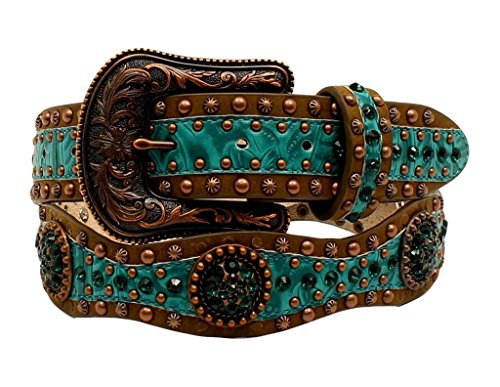 Ariat Women's 1/2'' Scallop Floral Embossed Concho Belt, Brown, XL (Ariat Embossed Belt)