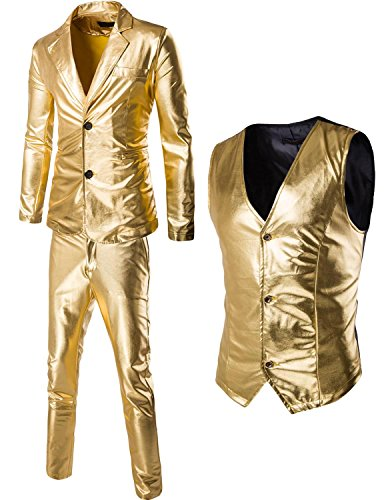ZEROYAA Mens Metallic Silver Slim Two Buttons Suits/3 Piece Suits/Stage Swear (US L/Tag Asian XXL, - Suit Gold 3 Piece