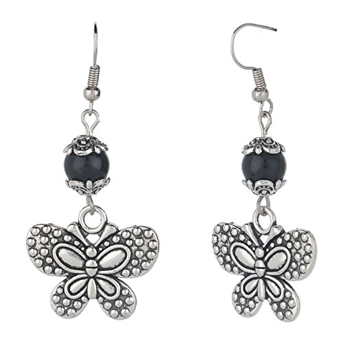 Efulgenz Oxidized Silver Drop Boho Vintage Retro Ethnic Gypsy Dangle Earrings with Dangling Butterfly Charm Love Gift (Butterfly Earrings Oxidized)