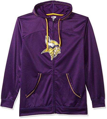 (NFL Minnesota Vikings Men FULL ZIP HOODIE, PURPLE/GOLD, 3XT)