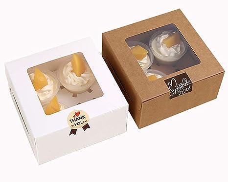 Chilly - Cajas para cupcakes con adhesivo y ventanilla transparente de plástico - 10 unidades