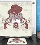 Beshowereb Bath Suit: Showercurtain Bathrug Bathtowel Handtowel Western Insignia and Banner with Two Guns Hat Pistols Poker Ace Cowboy Texas Chesnut Brown Slate Blue