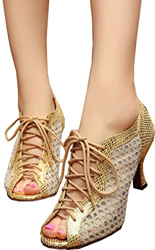 CFP Zapatillas de Danza de Malla Para Mujer Dorado Dorado qvPGP