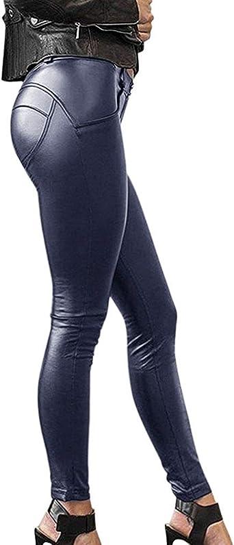 Onsoyours Mujeres Pu Leggins Cuero Brillante Pantalon Elasticos Pantalones Skinny Pantalon Para Mujer Amazon Es Ropa Y Accesorios
