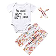I'm Cute, Mom's Hot, Dad's Lucky Baby Girls Funny White Outfit 3Pcs Clothing Set (0-3M, White)