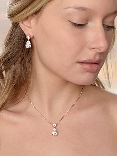 Mariell 14K Rose Gold Plated CZ Teardrop Bridal Necklace and Earring Set for Weddings, Bridesmaids & Prom by Mariell (Image #4)'
