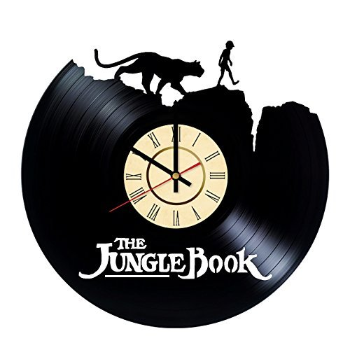 The Jungle Book Mowgli and Bagheera Silhouette HANDMADE Vinyl Record Wall Clock - Get unique living room wall decor - Gift ideas for boys and girls Movie Characters Unique Modern Art