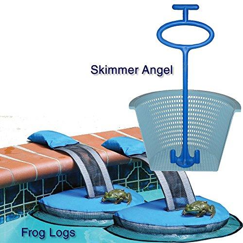 FrogLog Swimming Pool Floating Critter Escape Ramp + Skimmer Angel Skimmer Basket Handle Bundle (2 FrogLogs 1 Skimmer Angel)
