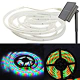 WONFAST 100Leds Copper Strip Light, Waterproof 16.4ft/5M Flexible SMD2835 LED Ribbon Mood Rope Solar String Light for Home Bedroom Theater Accent Decoration Christmas Lighting (Colorful)