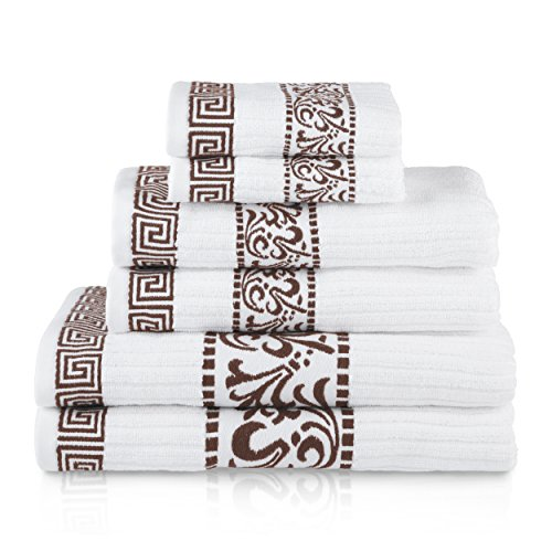 Superior Athens 100% Cotton, Soft, Extremely Absorbent, Beautiful 6 Piece Towel Set, Chocolate (Bath Towel Chocolate)