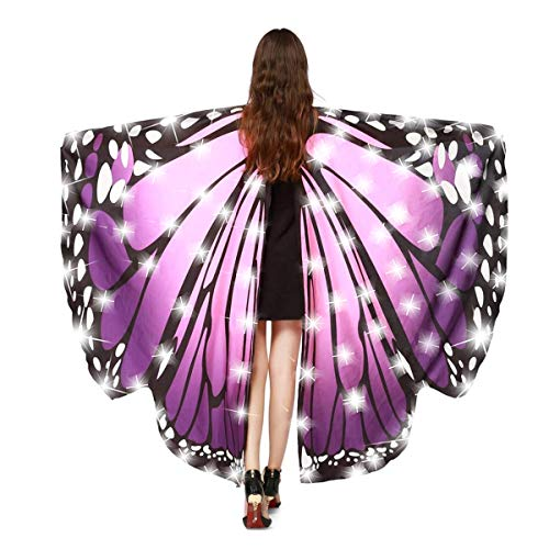 MISI CHAO LED Butterfly Wings - Halloween Costume Shawl Fairy Ladies Nymph Pixie Costume Accessory Soft Fabric ()