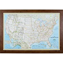 Craig Frames Wayfarer, Classic United States Push Pin Travel Map, Dark Walnut Frame and Pins, 24 by 36-Inch