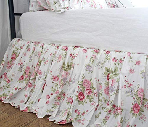 Rose Print Bed Skirts French Country Chic Floral Bedskirt Dust Ruffles