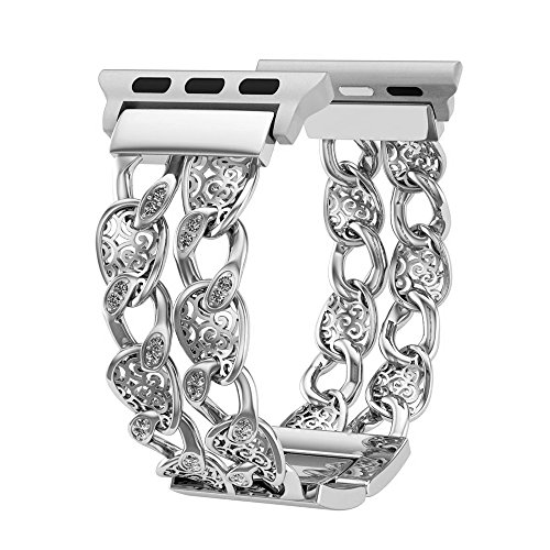 Compatible Apple Watch Band 42mm Women Silver, Breathable Cowboy Chain Rhinestone Replacement Strap Compatible Apple Watch Series 3/2/1,Sport and Nike, Luxury Feminine Wristbands