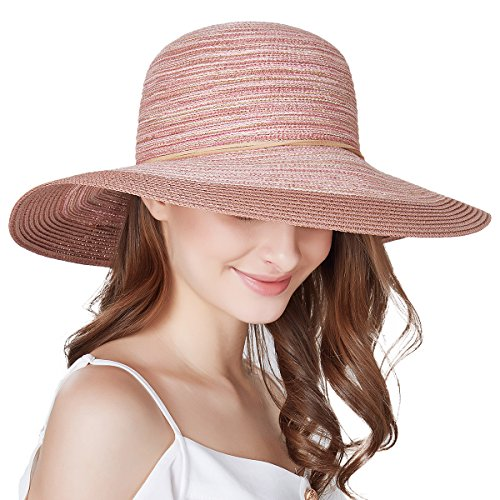 SOMALER Women Floppy Sun Hat Summer Wide Brim Beach Cap Packable Cotton Straw Hat for Travel Pink