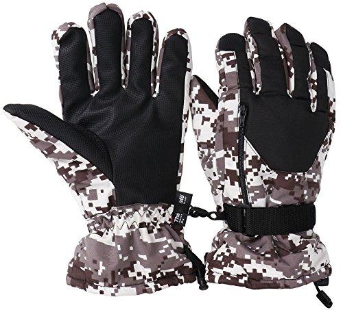 Livingston Mens Waterproof Thinsulate Insulated Winter Ski Gloves, Camo Black, S