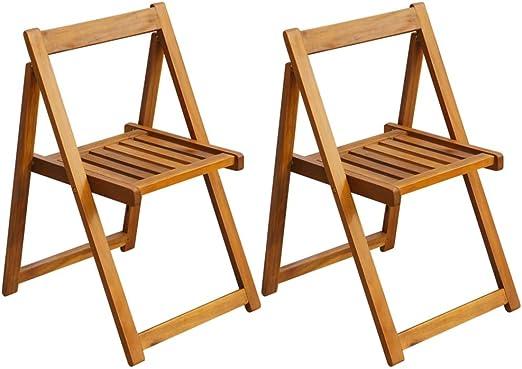 vidaXL - Juego de 2 sillas Plegables de jardín (Madera de Acacia ...