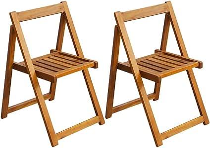 vidaXL - Juego de 2 sillas Plegables de jardín (Madera de Acacia): Amazon.es: Jardín