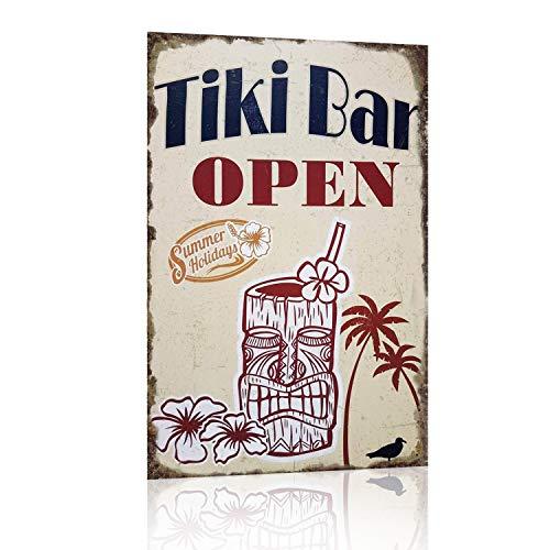 Joyingle Vintage Tin Signs Tiki Bar Open Summer Holidays Metal Tin Sign 12 X 8inch ()
