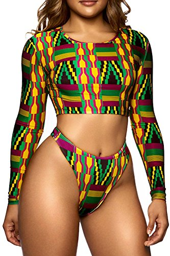 Womens Floral Printing Cropped Swimsuit