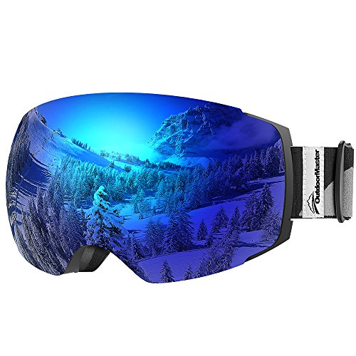 OutdoorMaster Ski Goggles PRO - Frameless, Interchangeable Lens 100% UV400 Protection Snow Goggles for Men & Women (VLT 15% Blue Lens with Free Protective (Blue Snowboarding Ski)