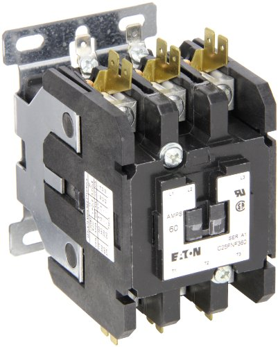 Contactor Single 480vac Pole Coil (Eaton C25FNF360T Definite Purpose Contactor, 50mm, 3 Poles, Box Lugs, Quick Connect Side By Side Terminals, 60A Current Rating, 5 Max HP Single Phase at 115V, 20 Max HP Three Phase at 230V, 40 Max HP Three Phase at 480V, 24VAC Coil Voltage)