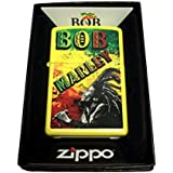 Zippo Custom Lighter - Bob Marley with Dreads and Rasta Colors - Regular Lemon Matte