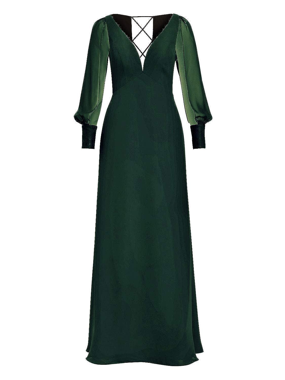 Dark Green Alicepub Long Sleeve Evening Gowns for Women Formal Dresses Floor Length