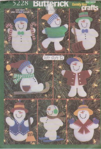 (Butterick 5228 Crafts Pattern No-Sew Snowmen Ornaments)
