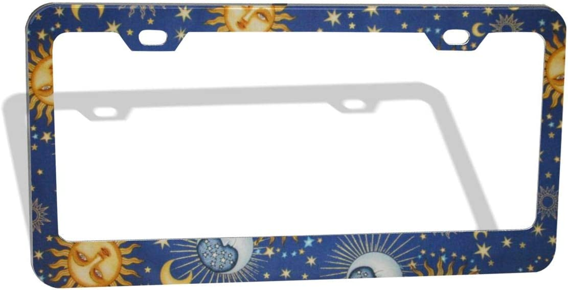 2 Holes DZGlobal Sun License Plate Frame Moon and Stars Over Black Sky Decorative Metal Car Front License Plates Vanity Tag Aluminum Novelty License Plate Cover,6 X 12 Inch