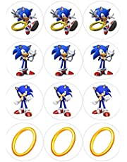 Sonic Characters Round Stickers for Boys birthday party supplies - 12 pcs