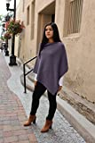 Emji 100% Cashwool® Merino Wool Fine Double Knit, Luxury Pullover Poncho, Fine Double Knit Poncho, Purple