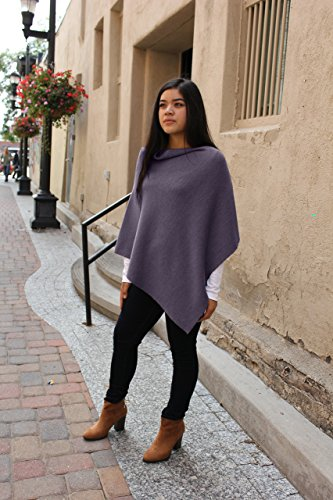 Emji 100% Cashwool® Merino Wool Fine Double Knit, Luxury Pullover Poncho, Fine Double Knit Poncho, Purple by Emji