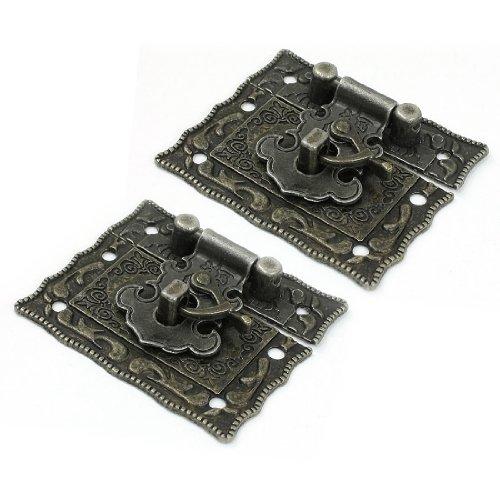 Antique Style Metal Lock - 2 Pcs Antique Style Hardware Bronze Tone Metal Rectangle Latch 42mm x 51mm