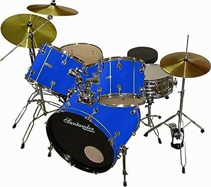 Santander Impacto de Juego de 9 piezas + soporte, platillos, taburete, color azul