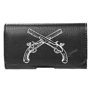 for HTC Desire 526 Faux Leather Cowboy Guns Pouch Belt Clip Case Cover Stylus Pen Velocity ™