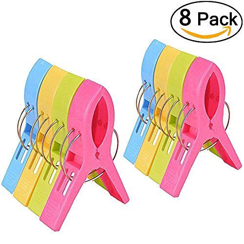 Decks Clothes (Jumbo Size Beach Towel Clips for Beach Chairs/Lounge/pool/Cruise-Wide Opening Hold Your Towels,Clothes Lines)